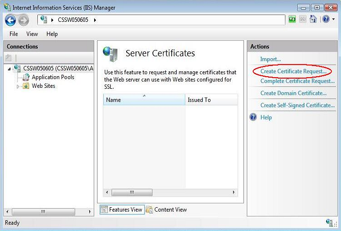 create certificate request