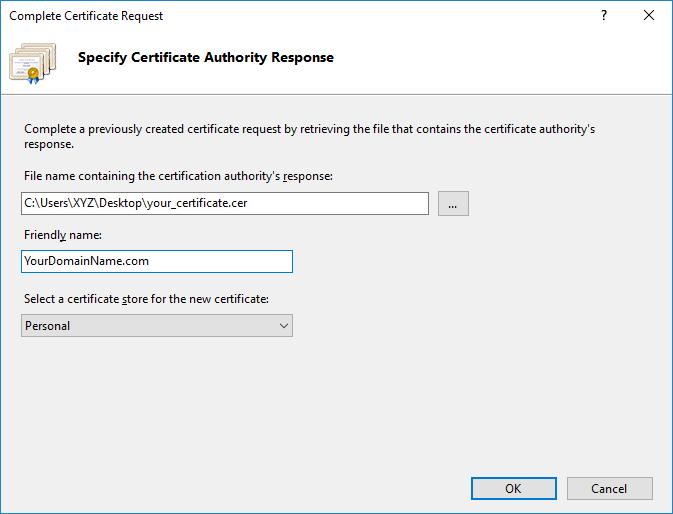 specify certificate authority response