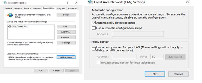 set your proxy settings to detect settings automatically